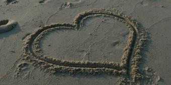 hart op het zand